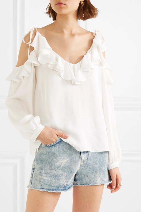 + NET SUSTAIN cold-shoulder ruffled crepe de chine blouse