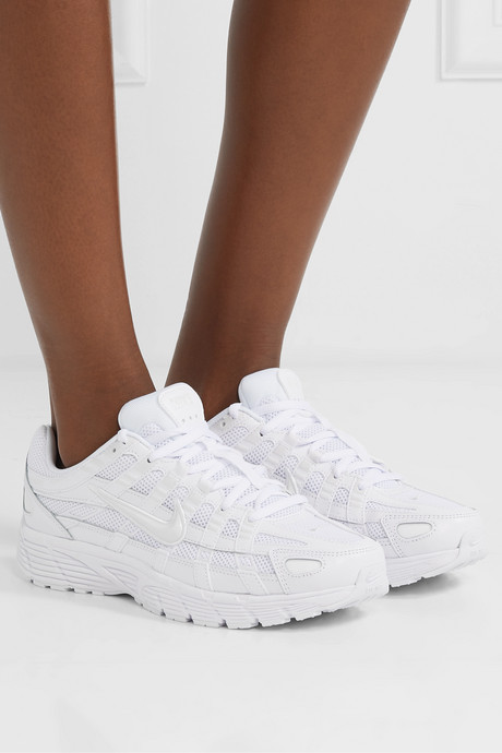 P-6000 leather and mesh sneakers