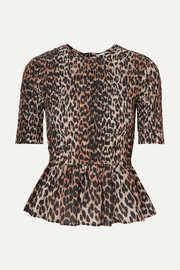 GANNI Shirred leopard-print cotton and silk-blend peplum top