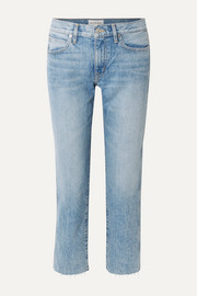 SLVRLAKE Harper cropped frayed mid-rise straight-leg jeans