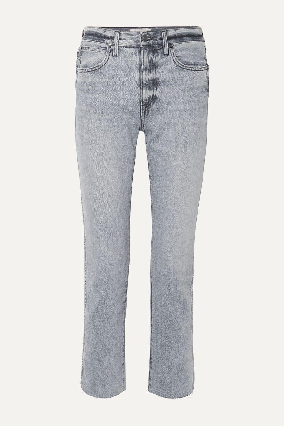 SLVRLAKE Hero cropped frayed high-rise straight-leg jeans
