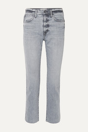 Hero cropped frayed high-rise straight-leg jeans