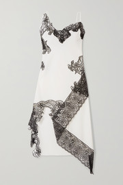 Marques' Almeida Asymmetric lace-trimmed cotton-poplin midi dress