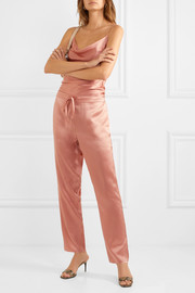Silk-satin tapered pants