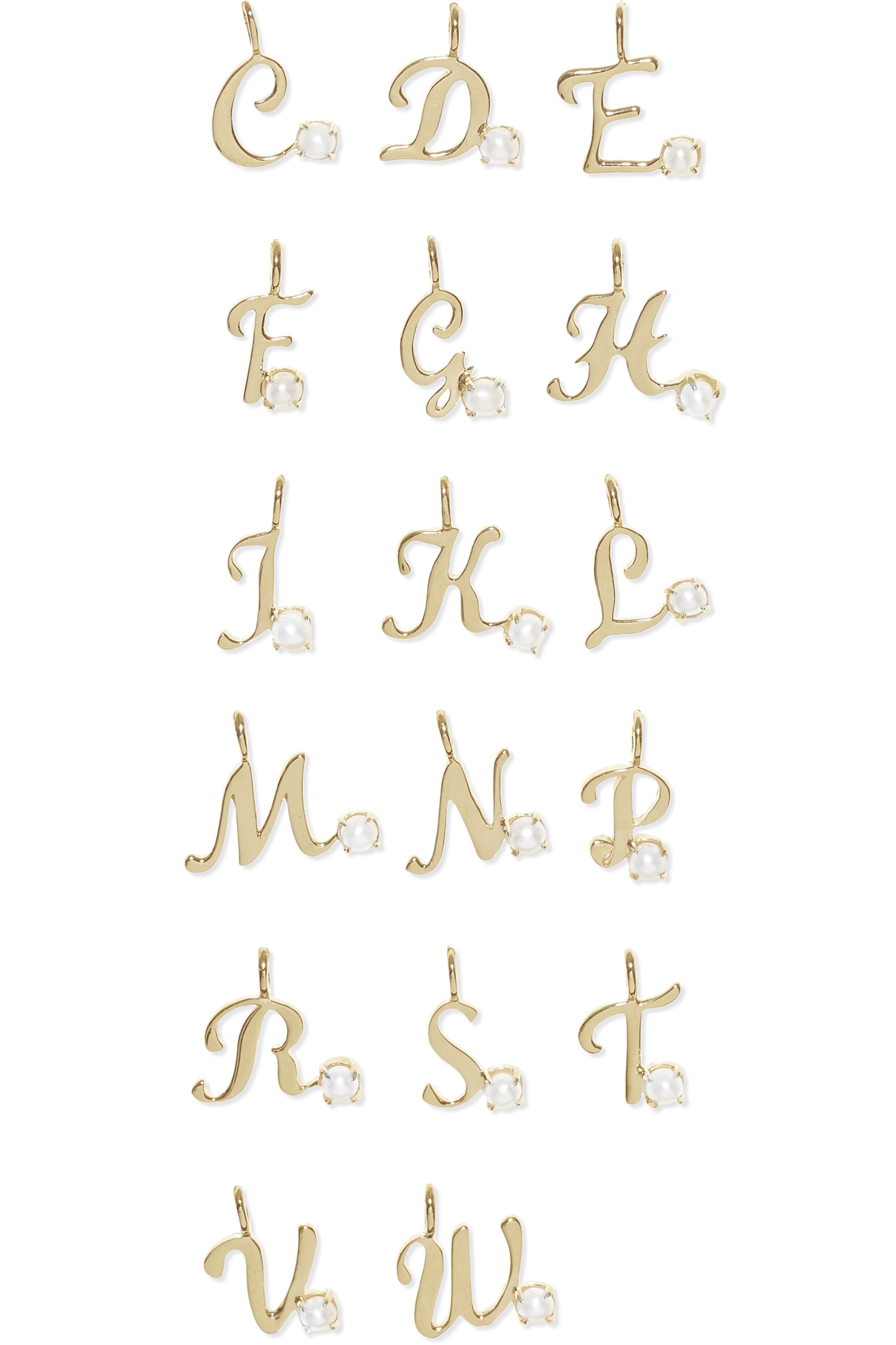 STONE AND STRAND Alphabet 14-karat gold pearl necklace