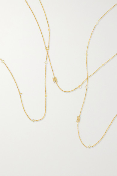 STONE AND STRAND | STONE AND STRAND - Initial 14-Karat Gold Pearl Necklace - Z | Goxip