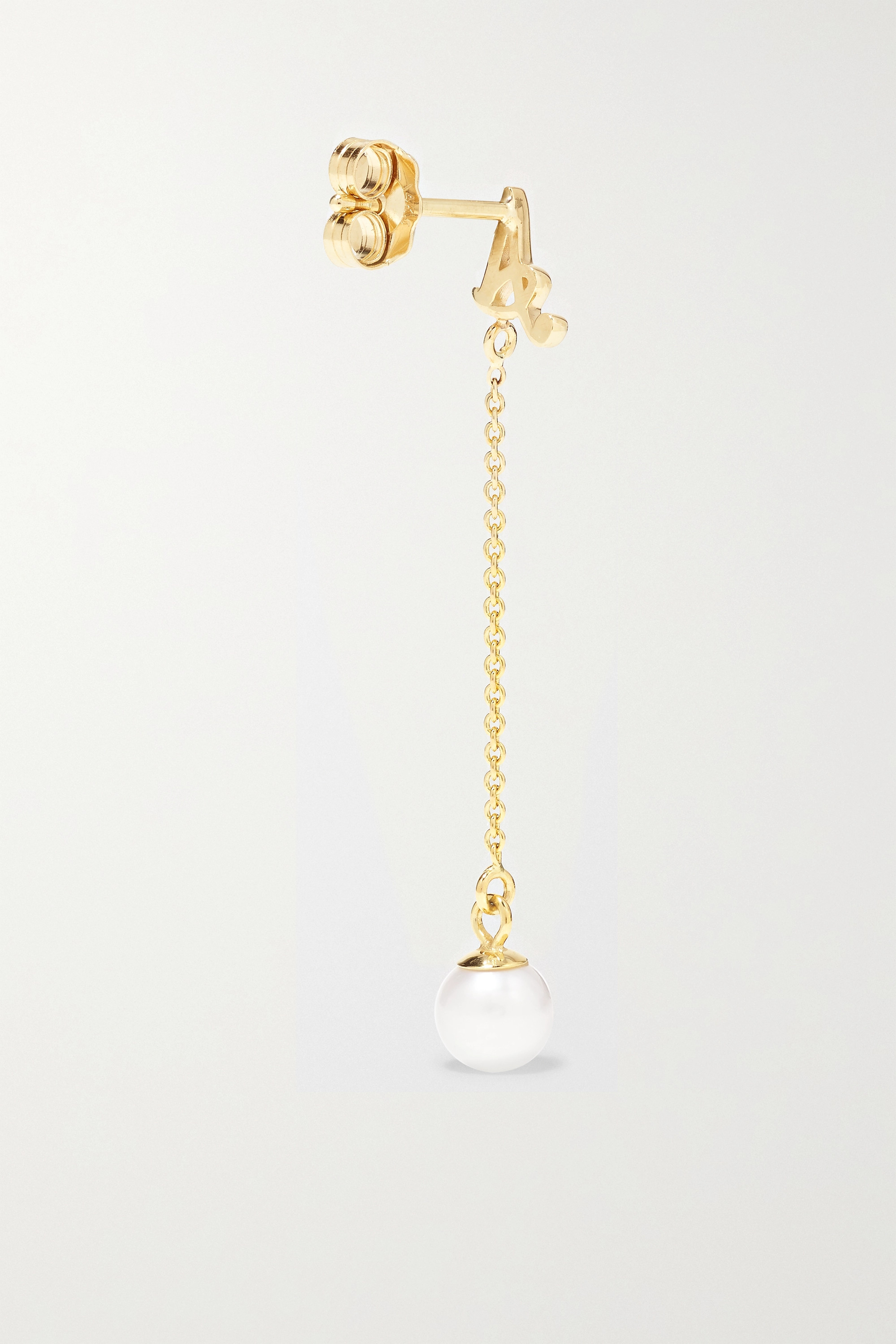 STONE AND STRAND Alphabet 14-karat gold pearl earring