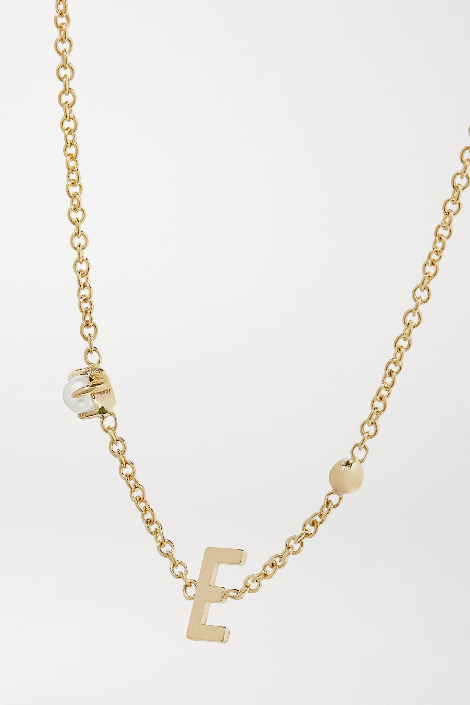 STONE AND STRAND Initial 14-karat gold pearl bracelet