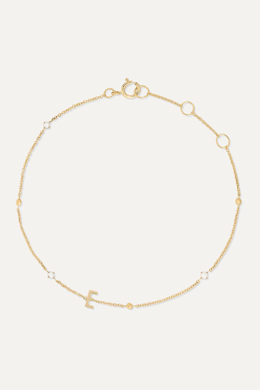 STONE AND STRAND Bracelet en or 14 carats (585/1000) et en perles Initial