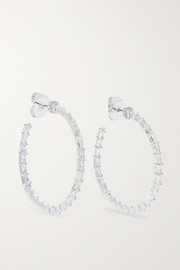 Kenneth Jay Lane Silver-tone cubic zirconia hoop earrings