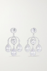 Silver-tone cubic zirconia earrings