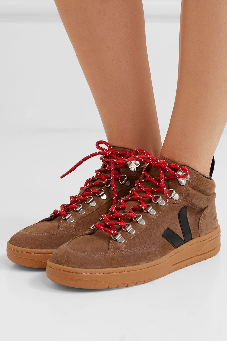 Veja + NET SUSTAIN Roraima suede and leather high-top sneakers