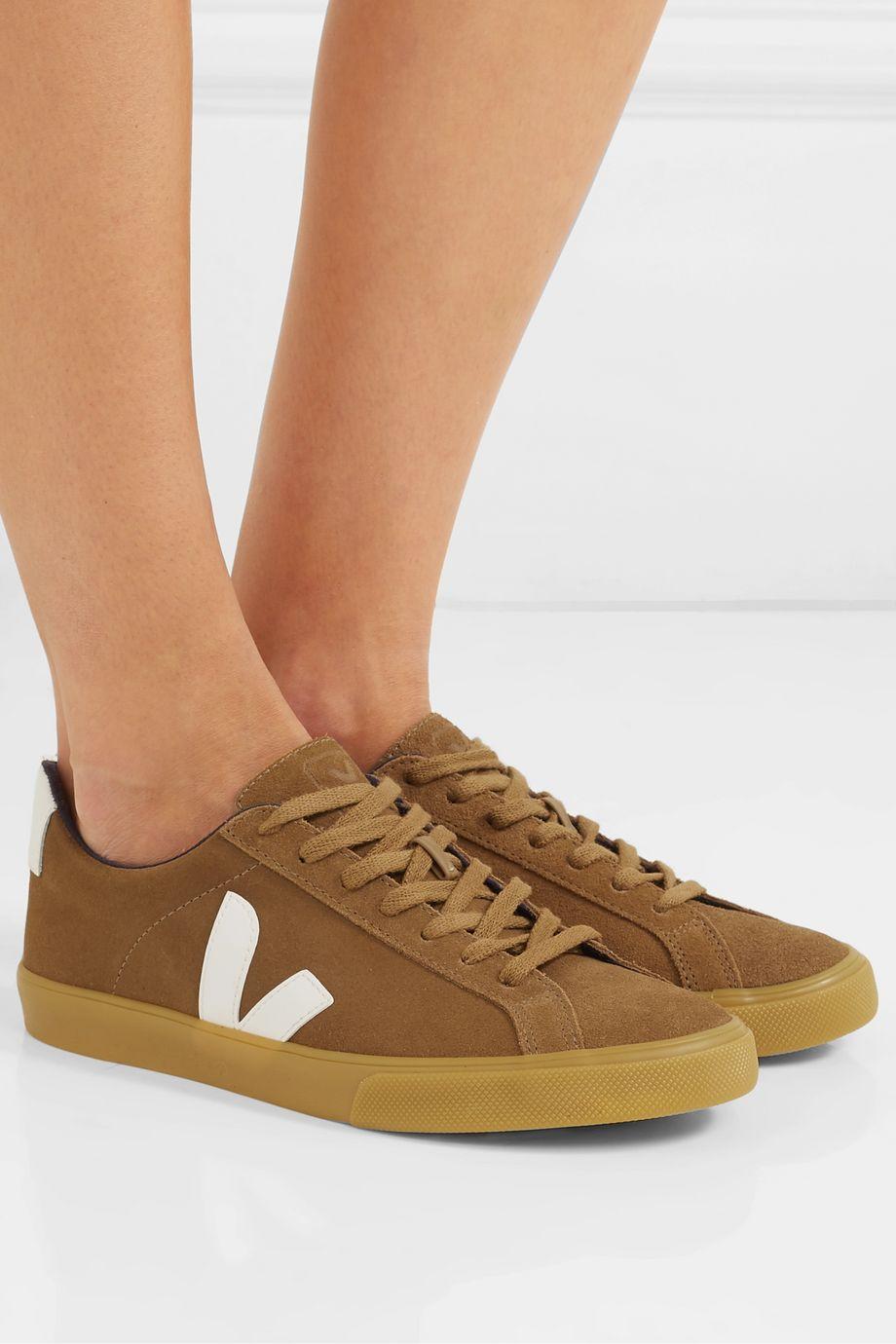 Veja + NET SUSTAIN Esplar leather-trimmed suede sneakers