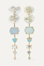 + NET SUSTAIN 14-karat gold multi-stone earrings