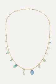 Wwake + NET SUSTAIN 14-karat gold multi-stone necklace