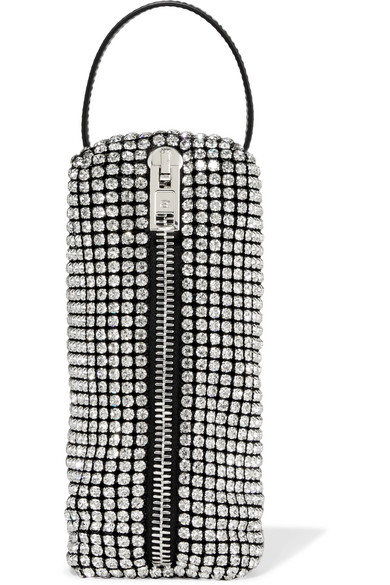Alexander Wang Leather-trimmed Crystal-embellished Mesh Tote In Silver