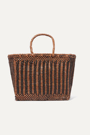 Cannage small two-tone woven leather tote