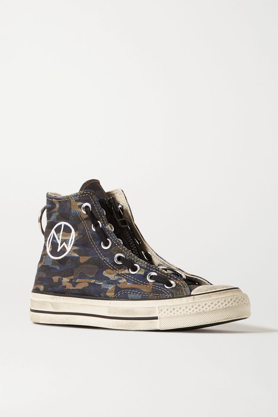 Converse + Undercover Chuck Taylor All Star 70 embellished camouflage-print canvas high-top sneakers