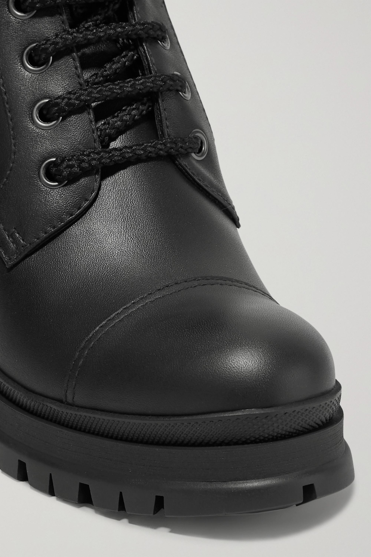 Black 55 Leather Ankle Boots   Prada