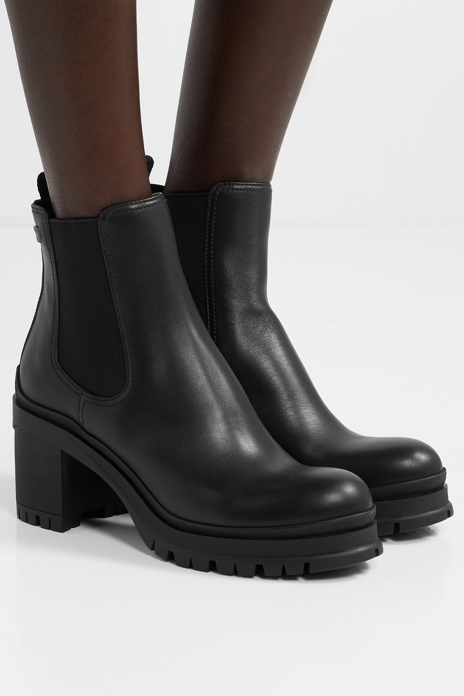 Prada 55 leather Chelsea boots