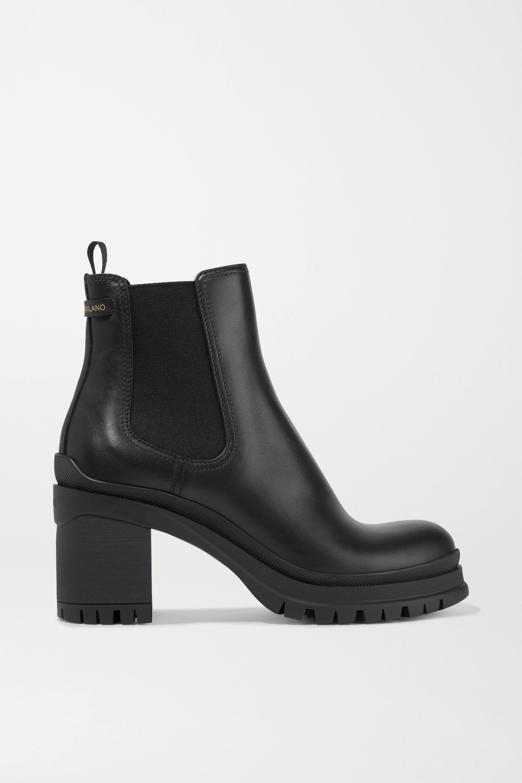 Black 55 leather Chelsea boots   Prada