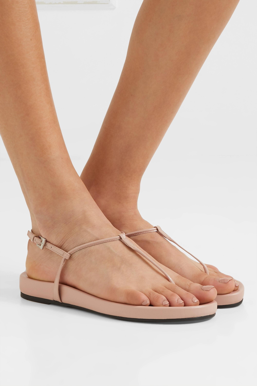 Beige Patent-leather platform sandals