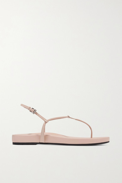 Prada Patent-Leather Platform Sandals In Beige