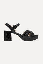 65 croc-effect leather platform sandals