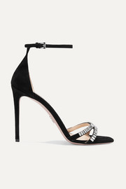 Prada 105 crystal-embellished suede sandals