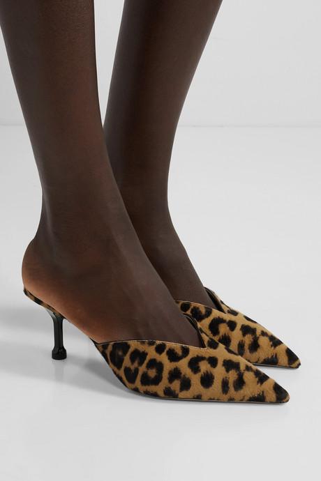 70 leopard-print calf hair mules