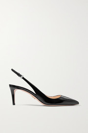 65 textured patent-leather slingback pumps