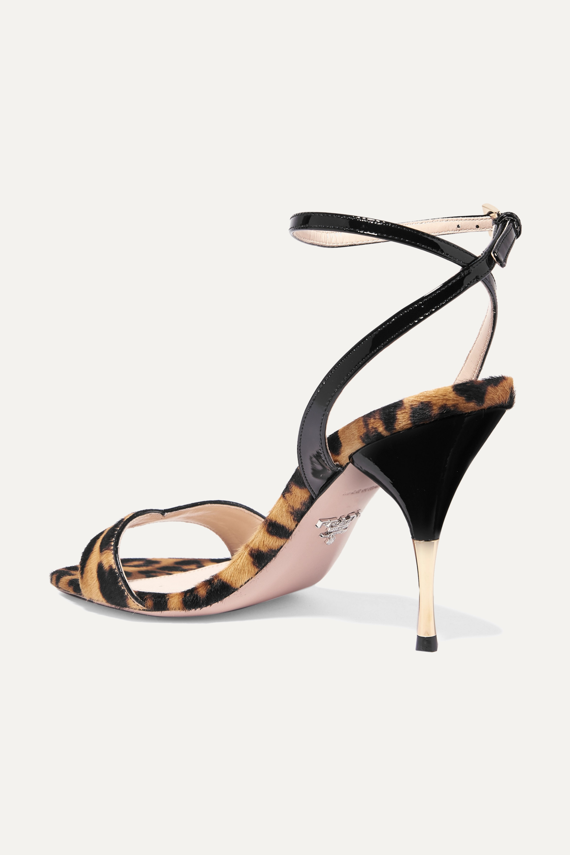 Prada 90 leopard-print calf hair and patent-leather sandals