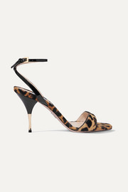 Prada 90 leopard-print calf hair and patent-leather sandals
