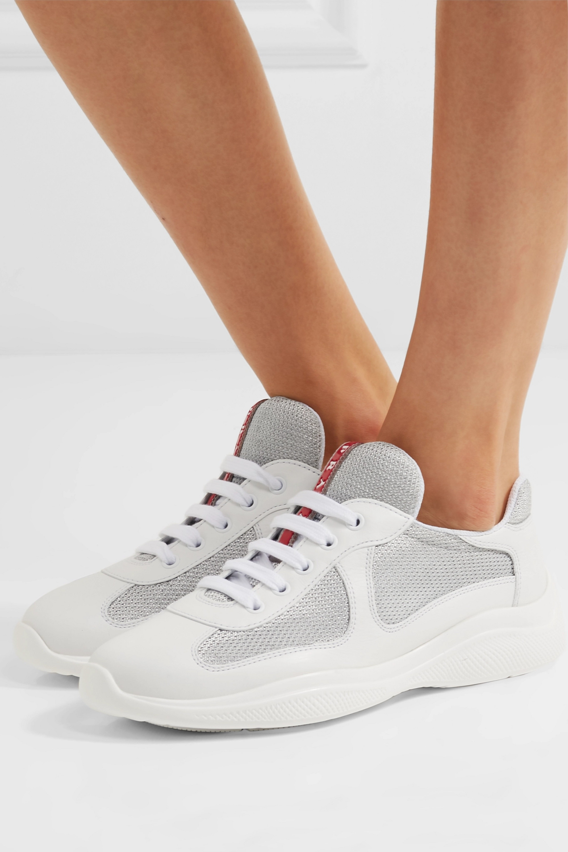 metallic mesh sneakers | Prada