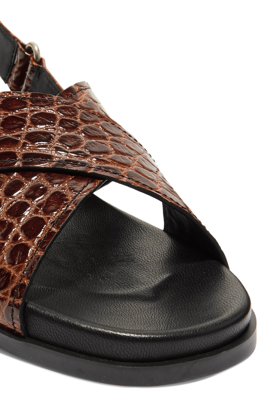 Prada Croc-effect leather slingback sandals