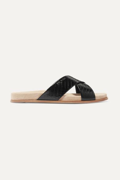 Prada Croc-Effect Leather Slides In Black