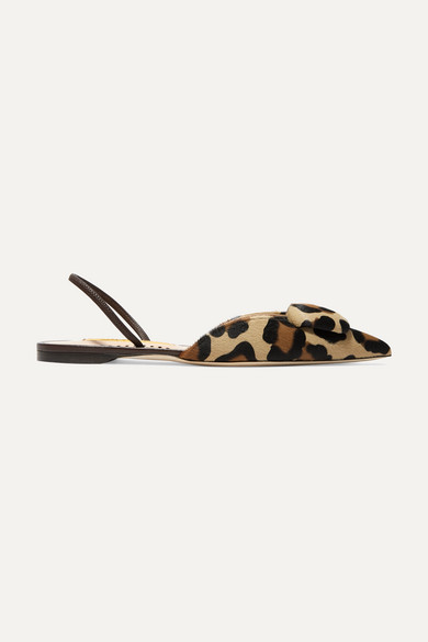 Sabine Leopard Print Calf Hair Slingback Flats by Rupert Sanderson