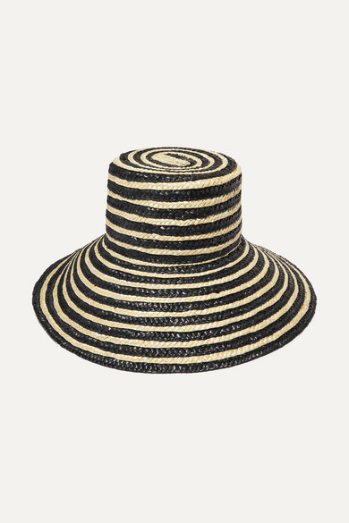 EUGENIA KIM | Eugenia Kim - Annabelle Striped Straw Hat - Black | Goxip