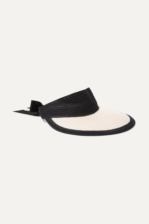 Eugenia Kim Ricky grosgrain-trimmed woven faux raffia visor