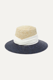 Stevie satin-trimmed two-tone straw hat