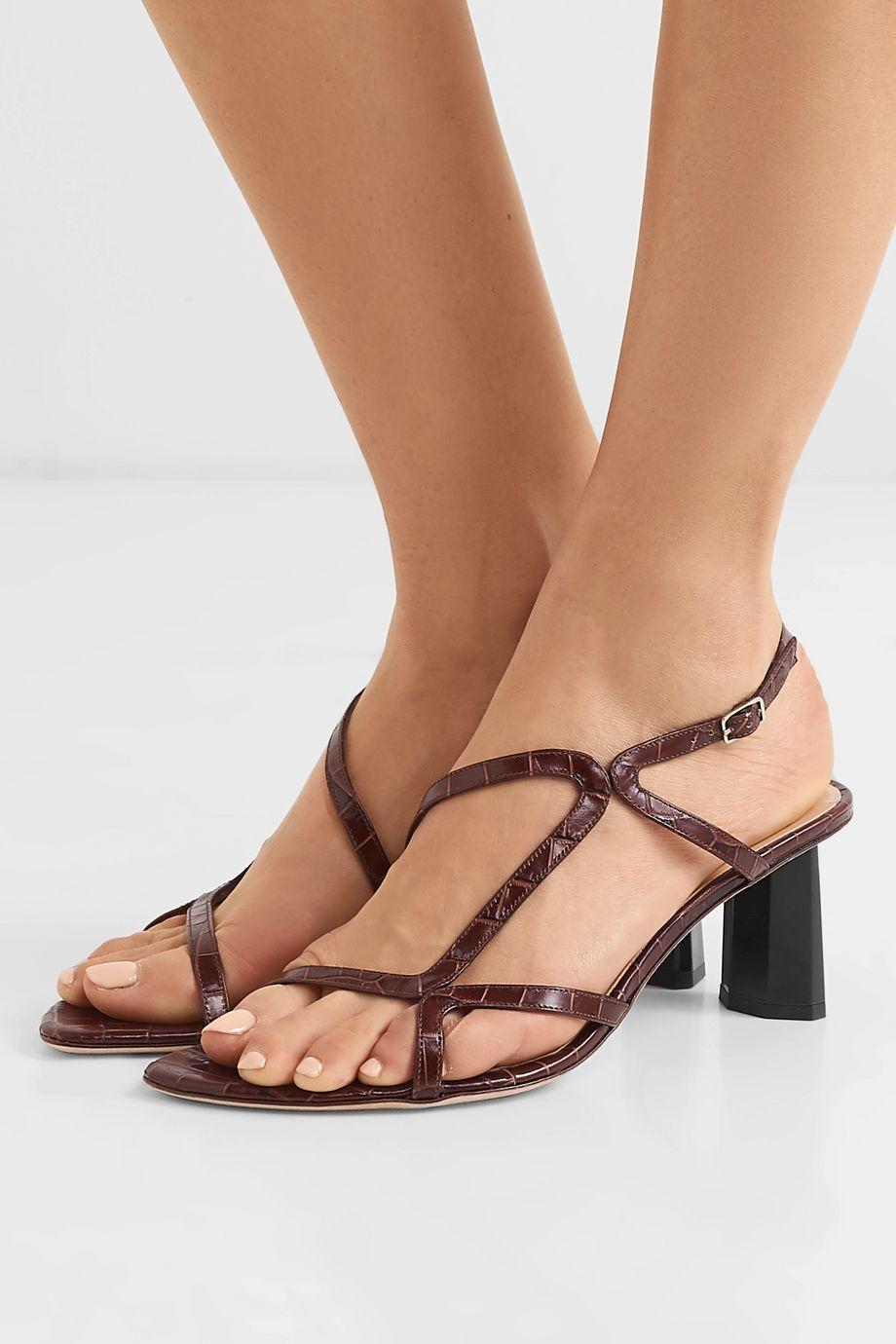 BY FAR Brigette croc-effect leather slingback sandals