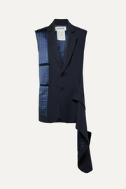 Monse Asymmetric distressed pinstriped satin and wool-blend vest