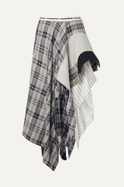 Asymmetric paneled checked crepe de chine, canvas and felt midi skirt