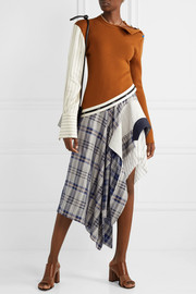 Monse Asymmetric paneled checked crepe de chine, canvas and felt midi skirt