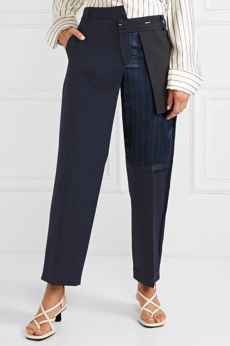 Paneled wool-blend and striped satin straight-leg pants