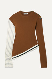 Asymmetric grosgrain-trimmed pinstriped satin-twill and merino wool sweater