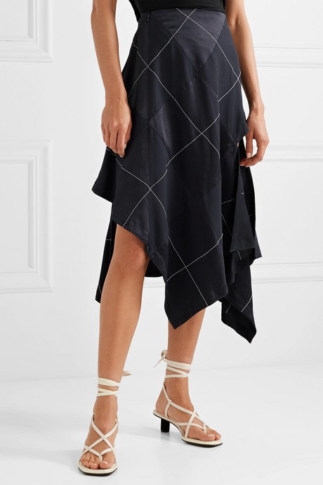 Asymmetric paneled satin and crepe midi skirt