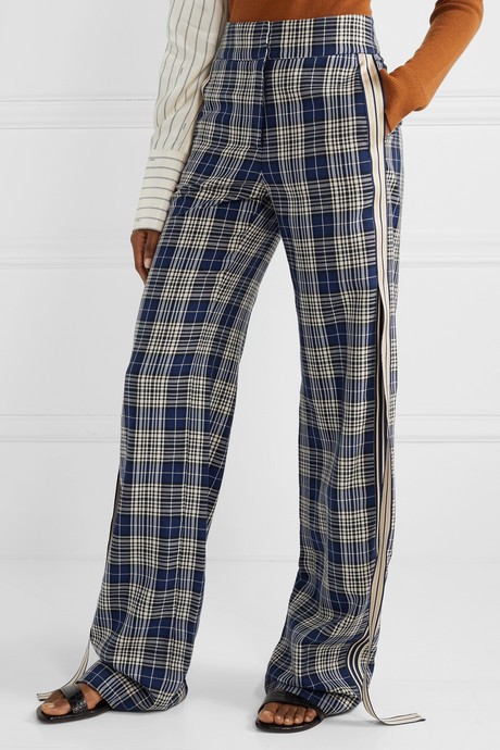 Grosgrain-trimmed checked woven wide-leg pants