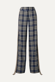 Monse Grosgrain-trimmed checked woven wide-leg pants