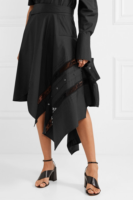 Asymmetric lace-trimmed cotton-blend poplin skirt